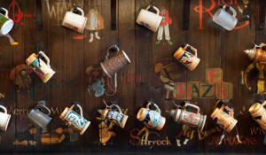 The intricate, historic beer steins and caricatures that line the walls of the Grille Room.